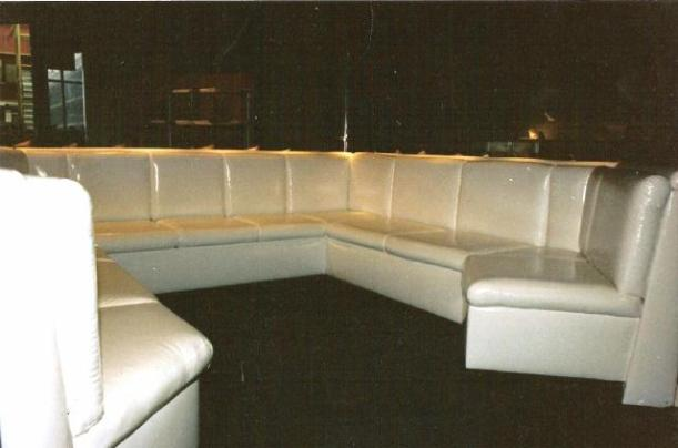 white leather booth seating